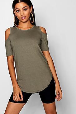 Basic Cold Shoulder Curved Hem T-Shirt
