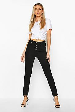 Exposed Button Front High Rise Skinny Jeans