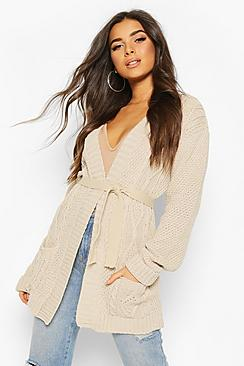 Cable Boyfriend Belted Cardigan