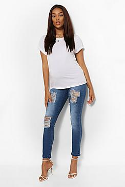 Maternity  Rip Skinny Over The Bump Jeans