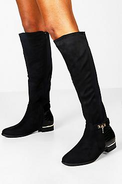 Croc Panel Stretch Back Flat Knee High Boots