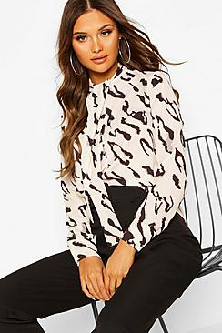Woven Animal Print Pussy Bow Blouse