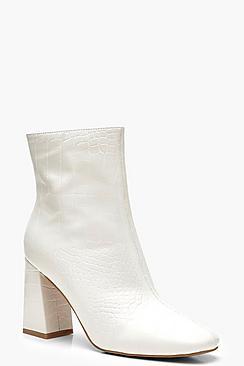 White Croc Block Heel Sock Boots