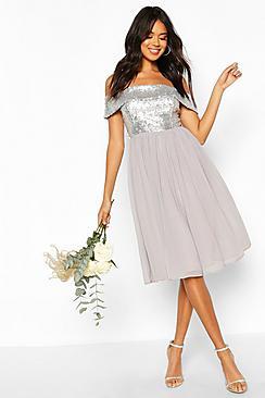 Bridesmaid Occasion Sequin Bardot Midi Dress