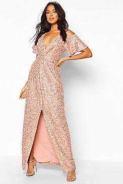 Bridesmaid Occasion Sequin Knot Front Maxi Dress