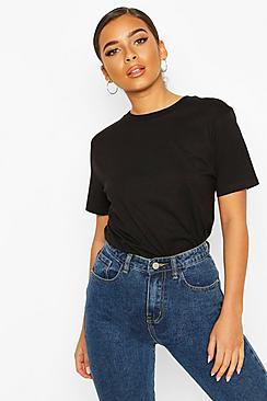 Petite Round Neck Cotton T-Shirt
