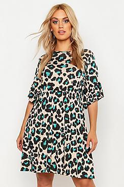 boohoo Plus Leopard Print Smock Dress