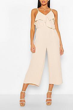 Linen Mix Ruffle Cullotte Jumpsuit