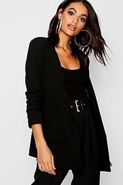 Ruched Sleeve Tailored Blazer