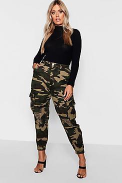Plus Ripped Pocket Denim Camo Cargo Jeans