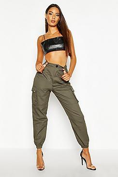 High Waist Woven Pocket Cargo Trousers