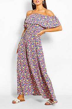 Se  Off The Shoulder Floral Maxi Dress ved Boohoo.com