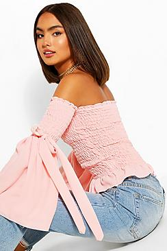 Woven Shirred Flared Sleeve Off The Shoulder Top