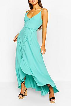 Frill Drop Hem Belted Maxi Dress