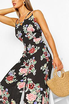 Floral Polka Dot Strappy Culotte Jumpsuit