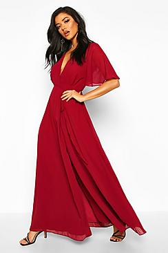 Chiffon Angel Sleeve Wrap Maxi Bridesmaid Dress