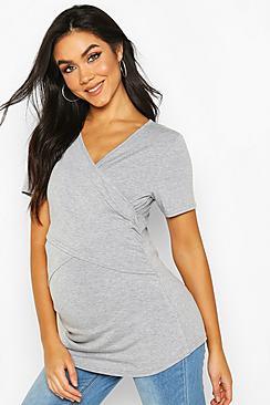 Maternity Wrap Front Nursing T-Shirt