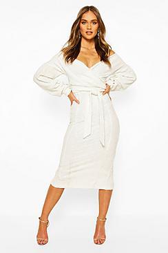 Bridesmaid Sequin Off The Shoulder Midi Dress