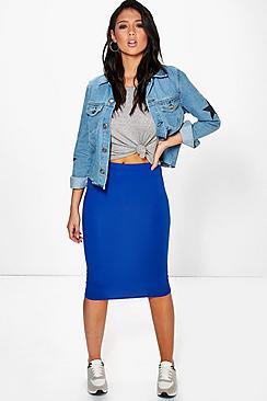 Basic Midi Jersey Tube Skirt