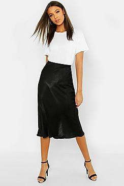 Tall Bias Cut Satin Midi Skirt