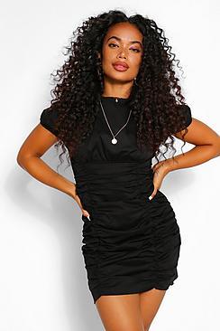 Petite Cotton Ruched Short Sleeve Mini Dress
