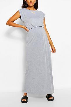 Maternity Cap Sleeve Shirred Waist Maxi Dress