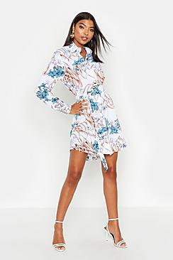 Tall Floral Print Belted Shirt Dress