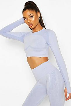 Fit Contouring Seamless Long Sleeve Crop Top