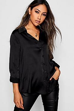 Woven Satin Oversized Long Sleeve Shirt