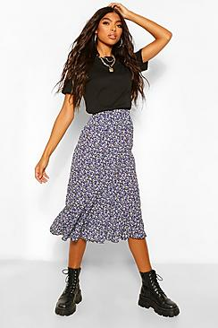 Tall Woven Ditsy Floral High Rise Midi Skirt