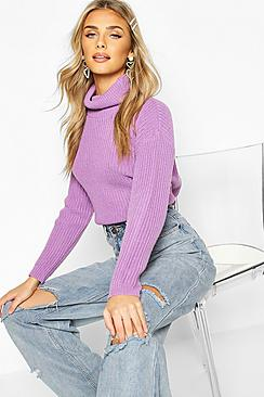 Cropped Fisherman Roll Neck Jumper