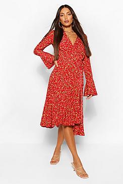 Tall Floral Print Wrap Midi Dress