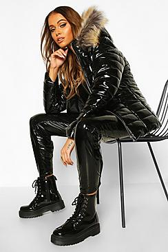 High Shine Faux Fur Trim Puffer Jacket