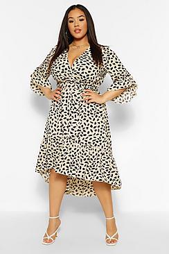 Plus Ruffle Hem Spotty Wrap Dress