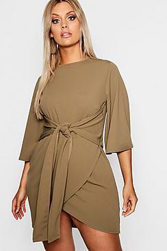 Plus  Kimono Sleeve Tie Waist Wrap Dress