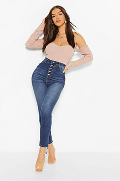 High Waisted Button Front Skinny Jeans