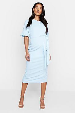 Se  Maternity Ruffle Midi Bodycon Dress ved Boohoo.com