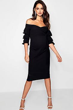 Maternity  Off Shoulder Detail Midi Dress