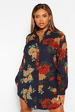 Plus Floral Satin Shirt Dress