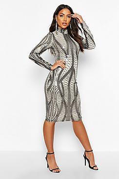 Mesh Sequin High Neck Long Sleeve Midi Dress