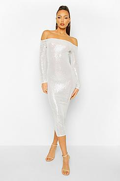 Tall Sequin Square Neck Long Sleeve Bodycon Dress