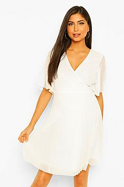Maternity Pleated Wrap Midi Skater Dress