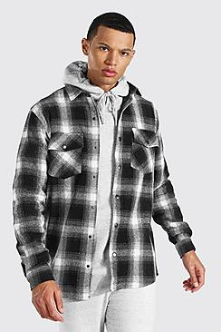 Se  Tall Heavy Weight Check Overshirt ved Boohoo.com