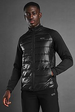MAN Active Zip Through Padded Poly Top