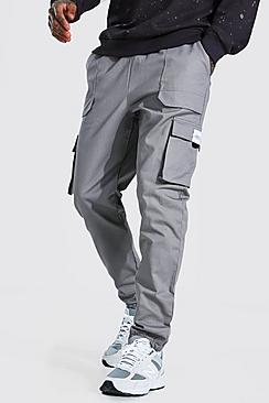 Twill Belt Front Cargo Jogger With Man Tab