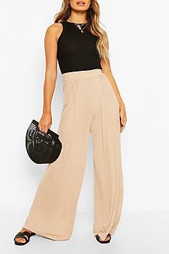 Basic Pin Tuck Soft Wide Leg Trousers