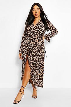 Plus Leopard Ruffle Wrap Midi Dress