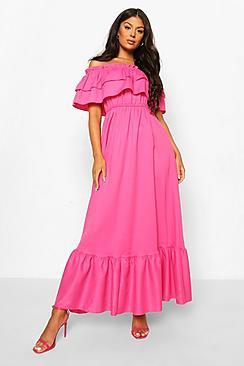 Ruffle Off The Shoulder Maxi Dress