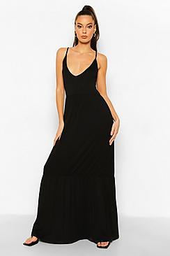 V Neck Tiered Maxi Dress