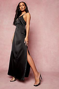 Satin Plunge Strappy Back Bridesmaid Dress